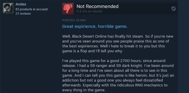 Black Desert Steam Reviews - Gaming General - SSRCG